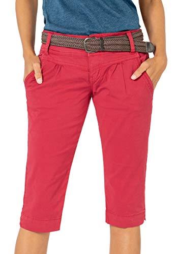 Fresh Made Damen Capri-Hose mit Gürtel im Chino Stil red M