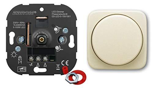5 Jahre Garantie! EBROM® Unterputz LED Dimmer Drehdimmer + Busch Jäger Dimmerabdeckung 2115-212 DURO2000 cremeweiß, Phasenabschnitt, für LED 5-150 Watt + dimmbare Halogen etc. 15-400 W/VA