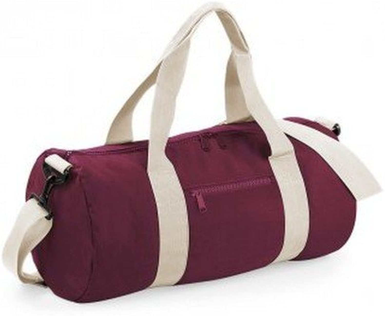 Bagbase Plain Varsity Barrel Duffel Bag (20 Liters) (Pack of 2) (One Size) (Burgundy Off White)