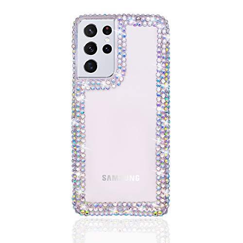 Bonitec Jesiya für Samsung Galaxy S21 Ultra Hülle 3D Glitzer Sparkle Bling Case für Frauen Luxus Glänzend Kristall Strass Diamant Bumper Klar Schutzhülle für Samsung Galaxy S21 Ultra Klar