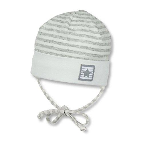 Sterntaler-Baby Jungen Mütze zum binden mit Ohrenschutz Sternaufnäher, weiß – 1501805,Größe 47
