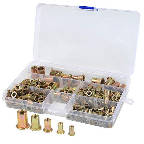 QLOUNI 165 Stück Nietmuttern Sortiment, Blindnietmuttern, Kohlstahl Einnietmuttern Set, M3 / M4 / M5 / M6 / M8 Rivet Nutsert Kit