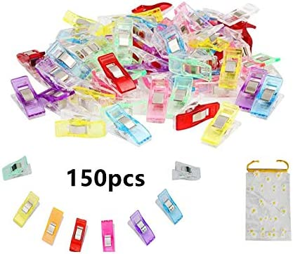 Fixing Clothes etc Clamping Photos Sewing Clips for Fabric- Multipurpose 150pcs Wonder Clips for Sewing with Daisy Storage Bag,use for Sewing Clothes 150pcs Sewing Clips