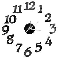 時計 新しい3D壁時計ミラーの壁のステッカーファッション生き残った部屋クォーツ腕時計DIY Domicile Decoration Clockステッカー (Color : Black 1)
