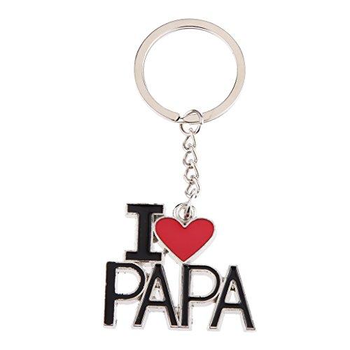 Gazechimp Créatif I Love Papa Porte-clés Pendentif Lettrage Clé Chaîne Cadeau Fête de Pères