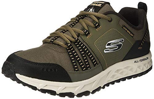 Skechers Escape Plan 51591 Sneaker Herren, Grün (Olive Leather/Mesh/Black Trim Olbk), 41 EU