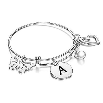 malyunin Initial Bracelet Charm Bracelets Heart Butterfly 26 Letters Alphabet Bracelet for Women Girls Letter Bracelet Personalized Jewelry (A)