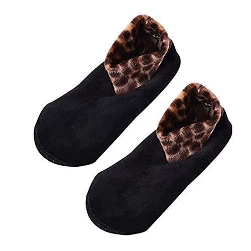 Indoor Non-Slip Thermal Socks,Women Winter Warm Thicken Leopard Bed Non Slip Home Indoor Floor Socks Slipper (Black, One Size for Women)