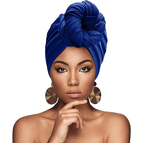 SolForis Long Head Wrap Scarf Turban Knot Hijab Stretch African Hair Wrap for Women (Blue)