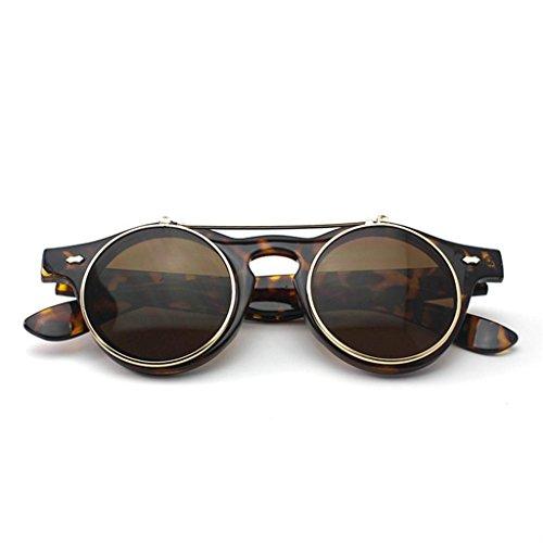 Lunettes rondes avec verres solaires rabattables Style rétro/gothique/steampunk Unisexe Lunettes de protection Motif léopard
