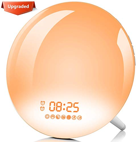 DOOK APP Intelligente wekker Wake Up Light, lichtwekker met 4 alarmsets, zonsopgangs- en zonsondergangsimulatie, lichtwekker LED-wekkerlicht, 7 wekgeluiden, digitale FM-radio, snooze