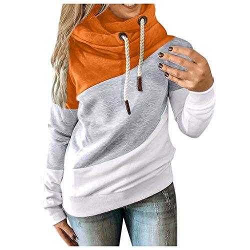 Masrin Damen Sweatshirt Lässig Farbkontrast Patchwork Hoodie Pullover Langarm Loose Tops Bluse mit Kordelzug (XL,Gelb)