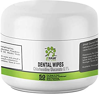 ZPAW Dental Wipes for Dogs and Cats | Pads with Chlorhexidine and Sodium Hexametaphosphate Helps Remove Plaque Tartar Buildup Calculus and Bad Breath, Preventing Tooth Decay and Gingivitis (50 Wipes)