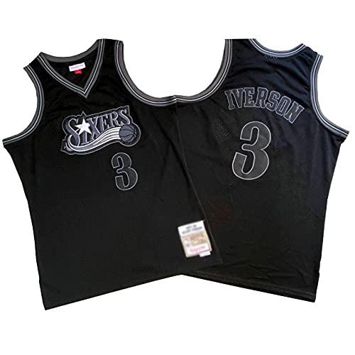 ZRBP # 3 76ers Iverson Uniformes De Baloncesto para Hombres, Uniformes De Equipo, Camisetas Deportivas Sin Mangas, Letras Y Números Personalizados Impresos Y Cosidos L