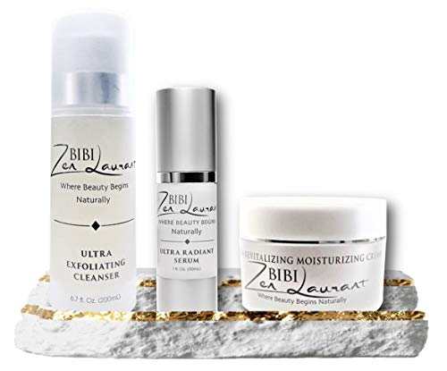 MUST HAVE Essential 3 Facial Set Natural Botanical Anti Aging Skin Care Kit Exfoliator Cleanser Peptide Botox Effect Face Serum & Intense Hydrating Moisturizer Cream FULL SIZE Day & Night Kit