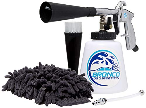 Bronco Car Cleaning System. High-Pressure Car Cleaning Gun, Advanced Car Wash Kit, Two Spray Nozzles, Microfiber Wash Mitt, Metal Gun, Detergent Bottle, Air Filter, More, USA NPT Hose Fit