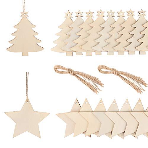 FLOFIA 40 Stück Holz Weihnachtsanhänger Holzanhänger Weihnachten Anhänger Weihnachtsdeko Basteln Weihnachtsschmuck mit 80m Schnur Weihnachtsbasteln Weihnachtsbaum Anhänger