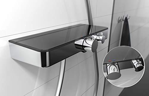 SCHÜTTE 60536 Ocean Thermostat Duscharmatur Set, Mischbatterie Verbrühschutz bei 38 Grad, Armatur Einhebelmischer Dusche mit Ablage aus Sicherheitsglas, Grau, Anthrazit