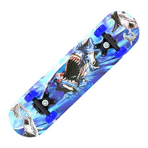 Blingko Skateboard Komplett 17 Zoll Mini Cruiser Skate Board für Anfänger Kinder Ahornholz Funboard, Bestes Geschenk für Kinder (A Mehrfarbig)