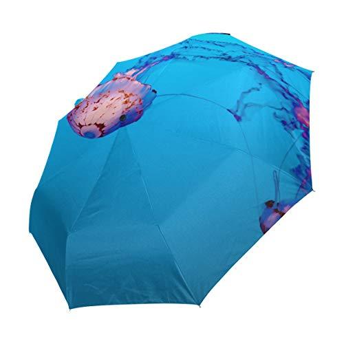 FANTAZIO drievoudige Travel Paraplu Bijzondere kwallen auto open paraplu Lichtgewicht