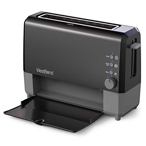 West Bend 77224 QuikServe Slide Through Wide Slot Toaster with Cool Touch Exterior & Removable Crumb Tray, 2-Slice, Black