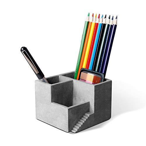ComSaf セメント製 ペン立て ペンスタンド ペンケース オフィス用 名刺入れ 卓上スタンド 文房具収納 小物収納 事務用品収納 グレー