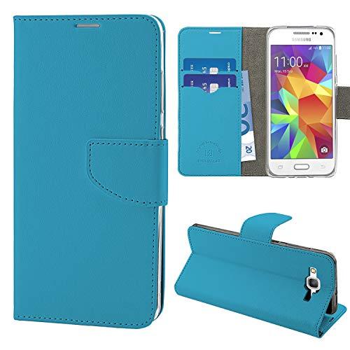N NEWTOP Cover Compatibile per Samsung Galaxy Core Prime G360, HQ Lateral Custodia Libro Flip Chiusura Magnetica Portafoglio Simil Pelle Stand (Azzurro)