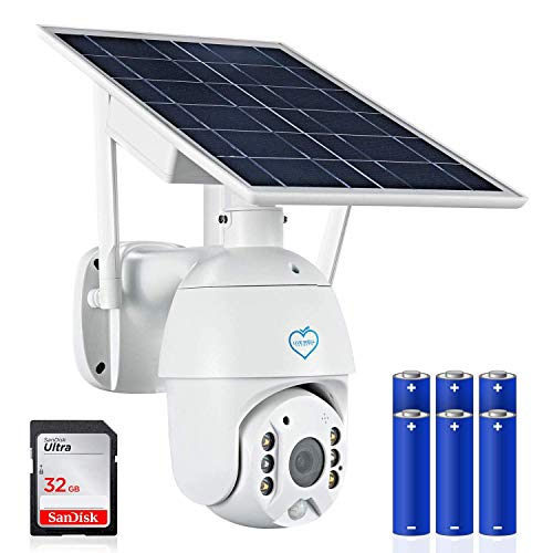 LWS Wireless Solar Security Camera Outdoor Version. The Best of Cameras for Home Security Includes a 32GB SD Card and six 18650 Rechargeable Batteries. Night Vision, 2way Audio, Motion Detection