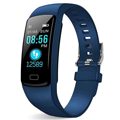 Polywell Fitness-Tracker, Aktivitätstracker mit Herzfrequenz-Monitor und Schlaf-Monitor, Bluetooth, wasserdicht, Schrittzähler und Kalorienzähler (blau)
