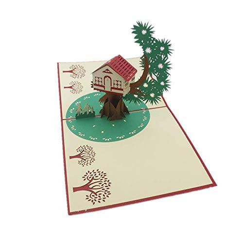 Pop Up Karte – Grußkarte, 3D-Karten, Herbst-Karte, Erntedankkarte, Jubiläumskarten, Pop Up Geburtstagskarte und Baumkarte, Baumhaus