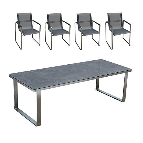 Edles und hochwertiges Gartenmöbel Set: 1 Tisch aus Edelstahl mit Glaskeramik-Platte und Gartenstühle aus Edelstahl von Linneborn Metallwaren (240 cm Tisch und 4 Stühle)