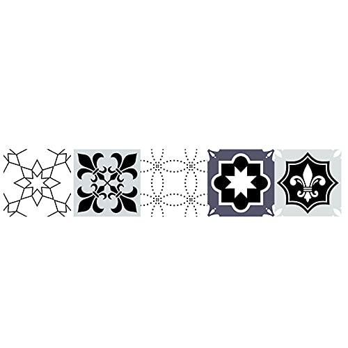 Pegatinas para azulejos en blanco y negro, impermeables, autoadhesivas, retro, para decoración de muebles de cocina, baño, 20 cm x 100 cm x 1 unidad