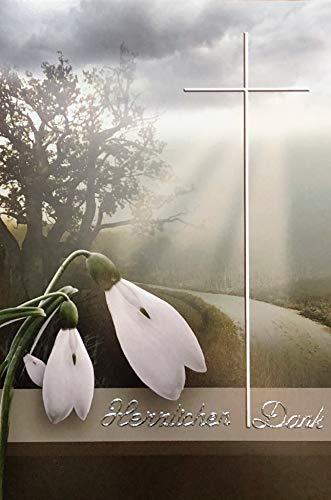 Rouwer bedankkaarten rouwkaarten zonder binnentekst motief sneeuwbelletjes 10 vouwkaarten met witte enveloppen in set bedankkaarten dank u kaarten envelop bedankt bedankje dankbetuiging K224