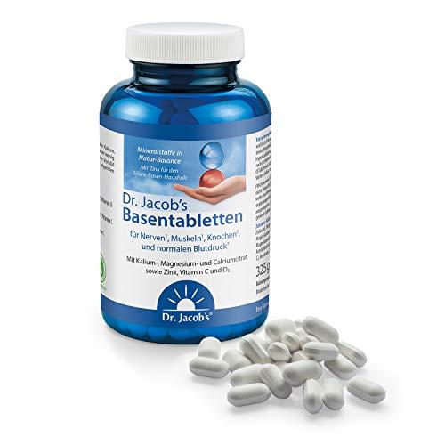 Dr. Jacob's Basentabletten, 250 Tabletten I wenig Natrium, reich an Kalium I für Muskeln, Knochen, Gelenke und Blutdruck I Mineralstoffe Kalium, Calcium, Magnesium, Vitamine C und D I 31 Portionen