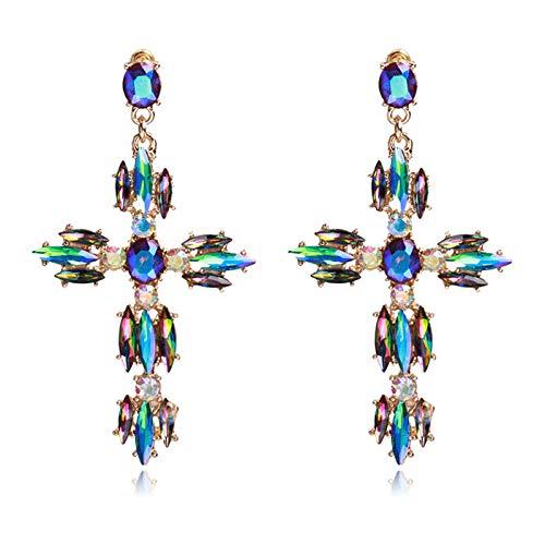 QYMX Orecchini Donna , Orecchini Pendenti alla Moda di Cristallo Orecchini a Forma di Croce da Donna Sexy a Forma di Croce Multicolore
