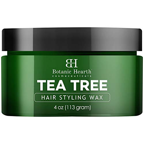 Botanic Hearth Tea Tree Hair Styling Wax - Provides Texture and Hold with Definition & Shine - Contains a Blend of Nourishing Natural Oils, Ideal for Short, Layered Styles - 4 oz