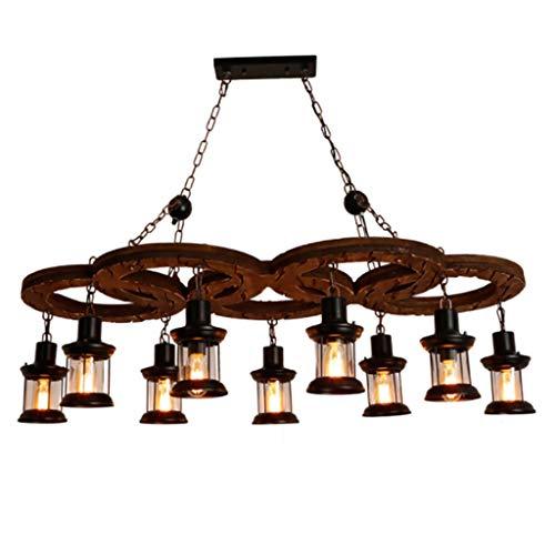KJZhu Retro kroonluchter, vijf ringen van massief hout hanger Light bar restaurant hanger lamp glas 9 koppen lampenkap verlichting feestverlichting 125 * 100CM
