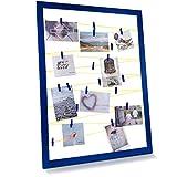 Qualip Marco de fotos – Moderno vintage [esquinas reforzadas] con pinzas y correa | Collage decorativo para colgar varias imágenes Polaroid | Marco de fotos azul marino y amarillo neón – Ahora ver