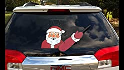 Christmas Santa Claus Car Rear Wiper Waving Sticker Windshield Window Arm Decal
