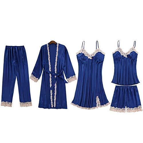 JUNGEN Conjunto de Pijamas de Mujer 5 Piezas Pijamas de Tirantes con Bata y Cortos y Pantalon Largo Ropa de Dormir Ropa de Dormir con Encaje y Diseño Cuello en v para Verano L (Azul Oscuro 2)