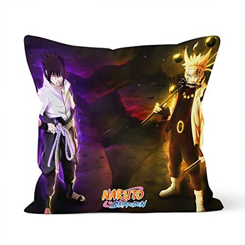 Anime Naruto Uzumaki Naruto Uchiha Sasuke temática - Funda de cojín cómoda para la piel, apta para funda de almohada para coche o dormitorio de casa - Dimensiones: 40 x 40 cm