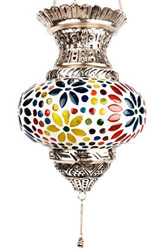 Orientalisches Mosaik Windlicht Hängewindlicht Glas Alaa Silber 21 cm groß | Orientalische Glas Teelichthalter mit Henkel orientalisch | Marokkanische Windlichter hängend als Hängewindlichter