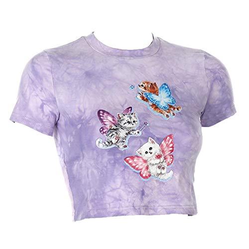 Camiseta de manga corta para mujer con estampado de gato, corte ajustado, tejido de mezcla de algodón y diseño bordado, para mujer y niña