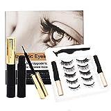 5 Pairs Magnetic Eyelashes with Eyeliner Tweezer Kit False Eyelashes Fluffy Faux Mink Lashes 10-18MM Reusable Eye lashes Set 3D Layered Effect Gift Box Set