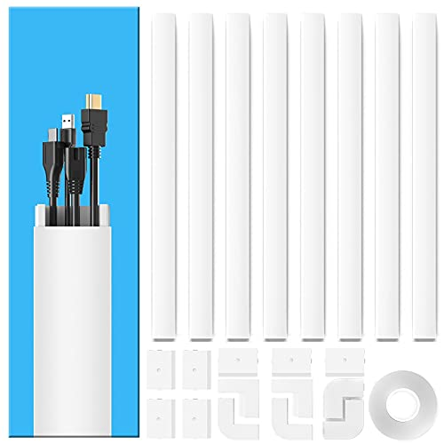 Yecaye 125' Large Cable Concealer - Paintable Cord Cover Wall Cable Management System - PVC Wire Hide - Cable Raceway Kit for Wall Mount TV Office Home, 8X L15.7' W1.18' H0.67', CMC-03-Large, White