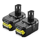 2 Pièces ENERGUP RB18L40 18V 4.0Ah Li-ion Batterie de Remplacement pour Ryobi ONE + P108 P104 P105 P102 P103 P107 RB18L50 RB18L40 RB18L25 Outils Sans Fil