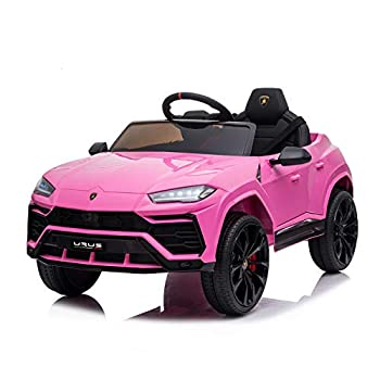 SUSIELADY Compatible with Kids Ride On Car with Remote Control Solid Seat Belt Shock Suspension Wearable Wheels LED Headlights Music & Story,3 Speeds Lamborghini Ride On Car Pink