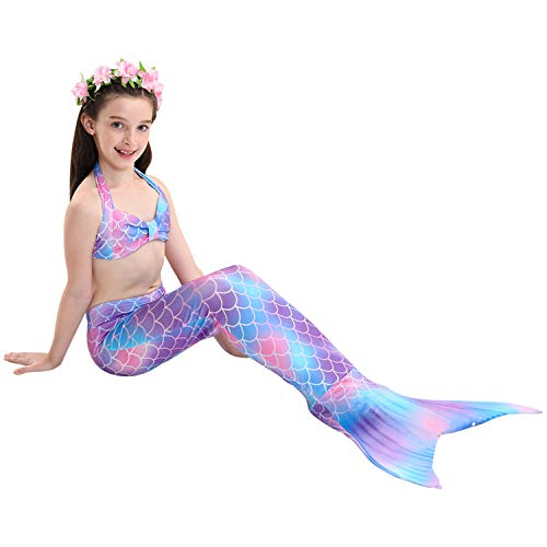 Le SSara Mermaid Tail Swimmable Bikini Swimming Costumes 3pcs Sets for Little Girls Kids Child and Women(DH48,110)