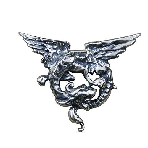 925 Sterling Zilver Flying Dragon Pin Broche, revers, Throne, Medieval, King, Fantasy, mannen vrouwen en kinderen Gothic Jewelry