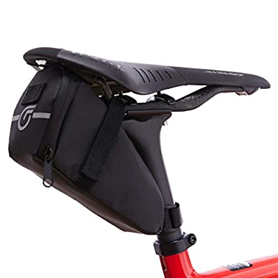 Cycle Factor Waterproof Bike Saddlebag Aerodynamic Bicycle Under Seat Pouch for Mountain, Beach or Road Bikes - Reflective Lining, Interior Mesh Bag & Key Holder, Velcro Straps, High Shear Resistance